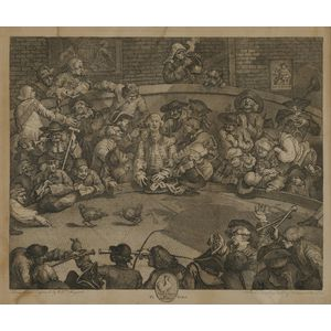 William Hogarth (British, 1697-1764) Lot of Two Engravings: The Idle Prentice at Play in the Church Yard, During Divine Service. Pl...