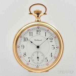"""Waltham 14kt Gold """"Riverside Maximus"""" Open-face Watch"""
