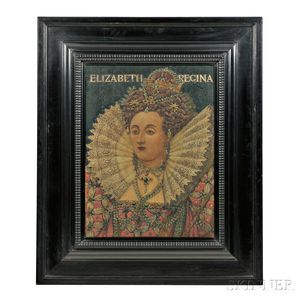 J. William Fosdick (Charlestown, Massachusetts, 1858-1937)        Pyrography of Elizabeth Regina