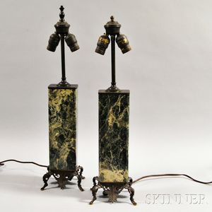 Pair of Bronze and Marble Table Lamps