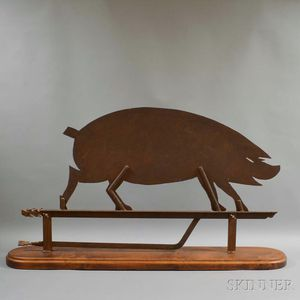 Sheet Iron Pig Trade Sign on Walnut Stand