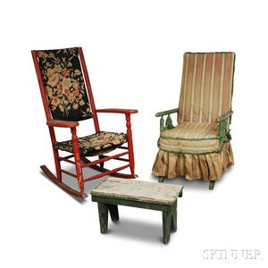 Two Painted Rocking Chairs and a Stool.     Estimate $20-200