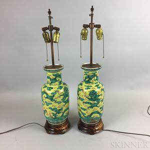 Pair of Famille Jaune Porcelain Vases