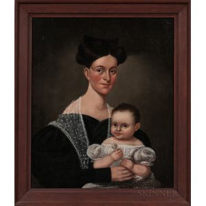 American School, Mid-19th Century      Portrait of a Mother and Child and Original Coral Necklace Worn by the Child