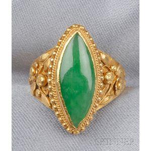 High-Karat Gold and Jadeite Ring