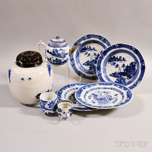 Two Pairs of Export Blue and White Plates, a Teapot, Two Cups, and a Jar