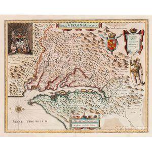Virginia, Georgia, North & South Carolina. Willem Janszoon Blaeu (1571-1638) Nova Virginiae Tabula.