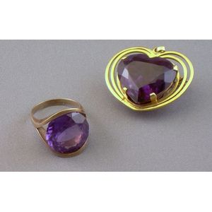 14kt Gold and Multicolored Tourmaline Ring and a 14kt Gold and Amethyst Heart   Brooch/Pendant