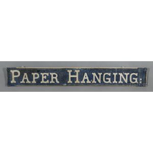 """Painted Pine""""PAPER HANGING"""" Trade Sign"""