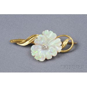 18kt Gold and Carved Opal Pansy Brooch