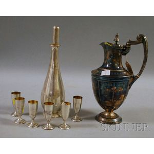 Redlich & Company Sterling Silver Decanter and Six Cordials