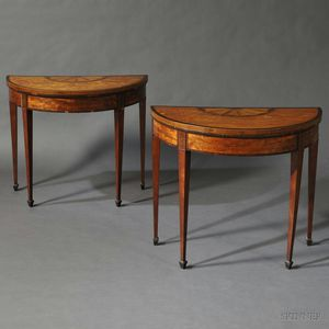 Pair of George III Satinwood Veneer Gate-leg Games Tables