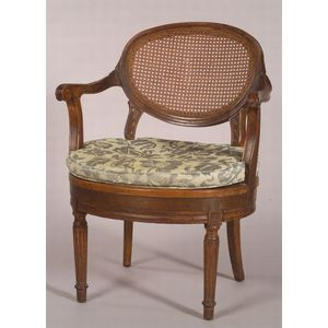 Continental Neoclassical Carved Oak and Caned Open Armchair