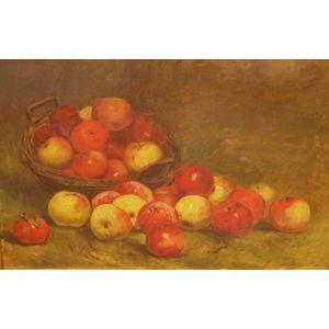 Framed Oil on Canvas Still Life with Apples