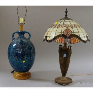 Mottled Blue Glazed Earthenware Bottle/Table Lamp Base and a Patinated Cast Metal   Table Lamp with Leaded Art Glass Dome Shade
