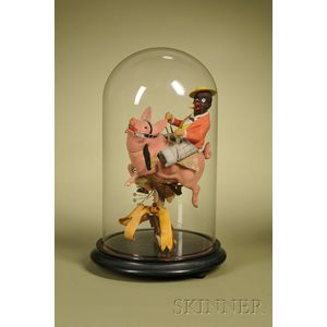 Rare Pig Candy Container with Black Gentleman Rider