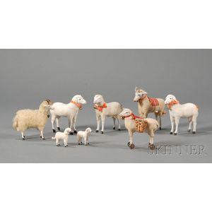 Eight Miniature Sheep Figures