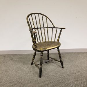 George Fuller Black-painted Sack-back Windsor Chair