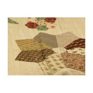 Floral Embroidered and Pieced Cotton Coverlet