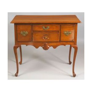 Queen Anne Cherry Carved Dressing Table