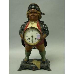 Bradley & Hubbard Painted Cast Iron Continental Figural Shelf Clock.