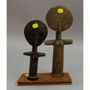 Two African Carved Wood Fertility Figures