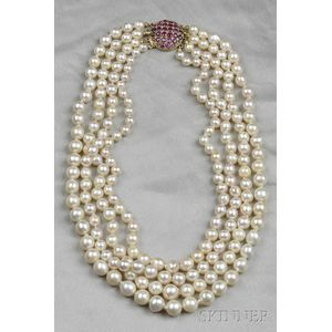 Four-strand Cultured Pearl Necklace