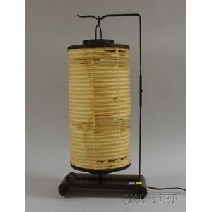 Japanese Paper Hanging Lantern on Iron Stand
