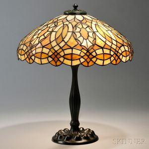 Mosaic Glass Table Lamp Attributed to Duffner & Kimberly