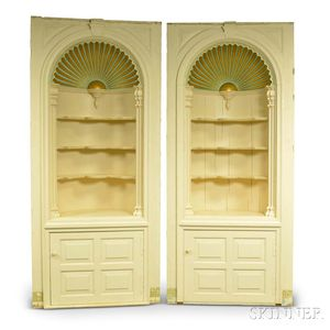 Pair of Wallace Nutting Painted Barrel-back Shell-top Cupboards