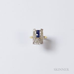 Art Deco-style 14kt Bicolor Gold, Sapphire, and Diamond Ring