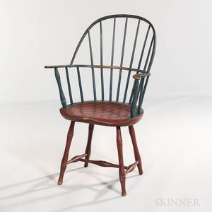 Blue- and Red/Orange-painted Sack-back Windsor Chair