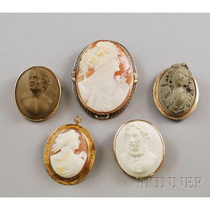 Five Gold-framed Cameo Brooches