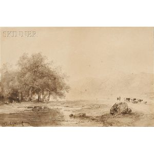 Andreas Schelfhout (Dutch, 1787-1870)      River Landscape with Cattle on a Path