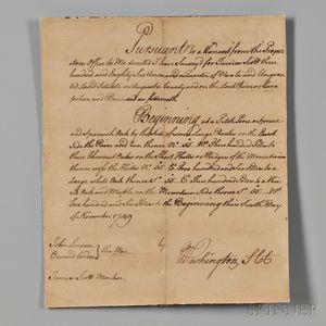 Washington, George (1732-1799) Signed Autograph Survey, 6 November 1749.