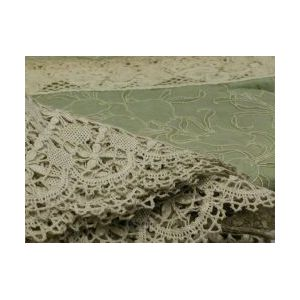 European Cutwork Linen Panel and an Embroidered Cotton and Crochet Spread.
