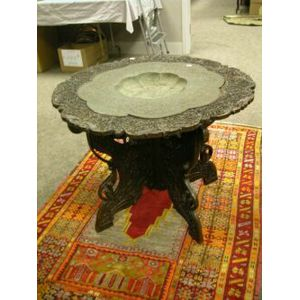 Indian Decorated Copper Tray on Carved Hardwood Stand.
