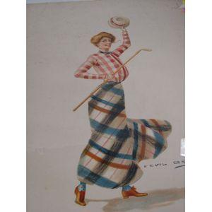 Three F. Earl Christy Portfolio Prints Depicting Early 20th Century Lady Golfers