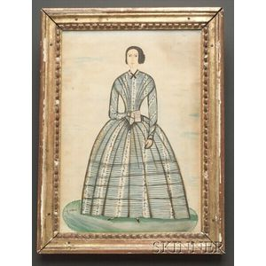 Anglo/American School, 19th Century    Portrait of Woman in a Chintz Dress Holding a Book.