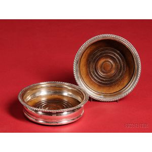 Pair of Gadrooned Silver Plated Wine Coasters