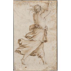 Italian School, 16th/17th Century      Striding Half-nude Female Figure Seen from Behind