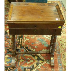Mahogany Tray Lift-top Sewing Table with Drawer.