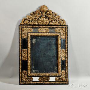 Dutch Brass-mounted and Part-ebonized Mirror