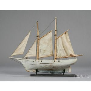 Painted Wooden Ketch Pond Boat Model