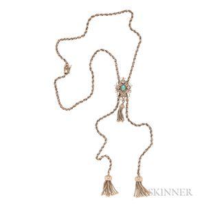 14kt Gold, Opal, and Diamond Slide Necklace