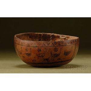 Pre-Columbian Pyro-Engraved Gourd Bowl