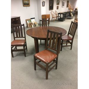 Oak Dining Table and Four Gustav Stickley Oak Dining Chairs