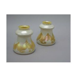 Two Quezal Pulled Feather Glass Lamp Shades.