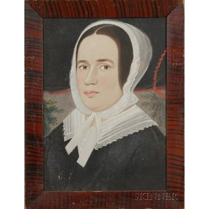 Prior-Hamblin School, 19th Century      Portrait of a Woman Wearing a Black Dress with White Lace Bonnet and Collar.