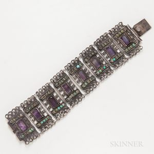 Matilda Eugenia Poulet Mexican Silver, Amethyst, and Hardstone Bracelet